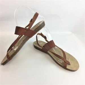 ESPRIT Flat Sandals Leather Strap 11 New